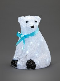 Konstsmide Acrylic Bear Cub Sitting With 40 Ice White LED Lights 28cm