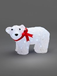 Konstsmide Acrylic Bear Cub Standing With 40 Ice White LED Lights 20cm