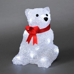 Konstsmide Acrylic Bear Cub Sitting With 24 Ice White LED Lights 18cm - Battery Operated