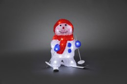 Acrylic Snowman Skiing 28cm Tall with 24 Ice white LED Lights