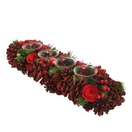 Christmas Tea Light Holder with Pinecones and Berries 15 x 45cm