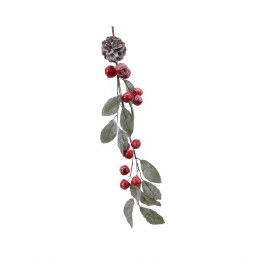 Christmas Garland Green Stem With Berries, Pincones and Glitter 16 x 130cm