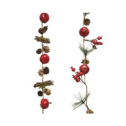 Christmas Pinecone Garland with Apples, Berries and Pinegreen 6 x 110cm