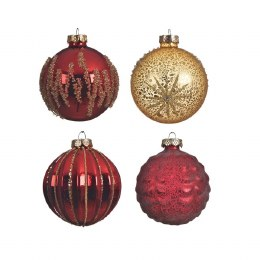 Christmas Bauble Red Shiny or Matt or Gold with matching Wire Hanger 8cm