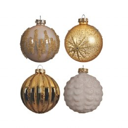 Christmas Bauble Pearl Enamel, Gold, Winter White with Matching Hanger 8cm