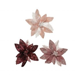 Christmas Decoration Velvet Flower On Clip 18cm