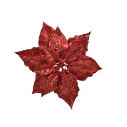 Christmas Decoration Red Poinsettia on Clip 23cm