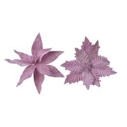 Christmas Decoration Lilac Poinsettia On Clip 29 x 5cm