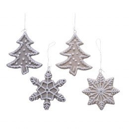 Christmas Decoration Cookie Tree or Snowflake Taupe, Grey with Hanger 1 x 8 x 9cm