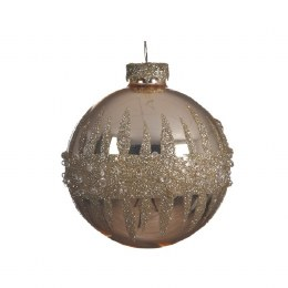 Christmas Bauble Champagne Gold with Glitter and Diamonds and Organza Ribbon 8cm