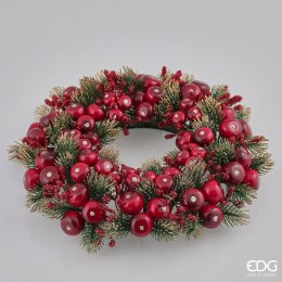 Christmas Candle Ring Holder with Berries and Frosted Foliage 29cm
