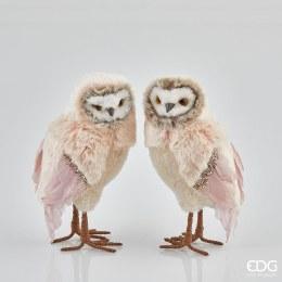 Christmas Plush Owl White and Pink 25cm