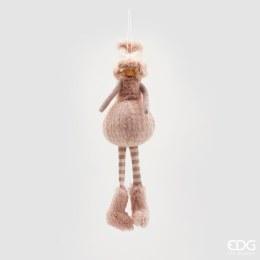 Christmas Plush Girl with Fur Decoration Pink 40cm