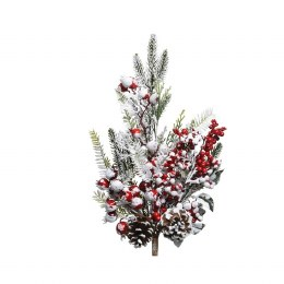 Christmas Frosted Red Berry Spray with Pinecones 8x14x50cm