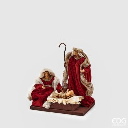Nativity Scene with Red and Gold Fabric 20cm Tall