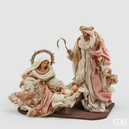 Nativity Scene with Pink and Cream Fabric 36cm Tall
