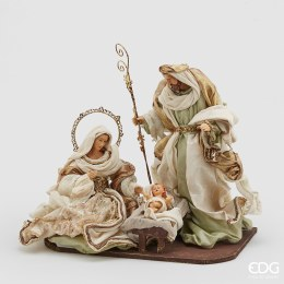 Nativity Scene with Sage Colour Fabric 36cm Tall