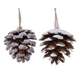 Christmas Decoration Hallepensus Pinecone with Natural Rope Hanger 12cm