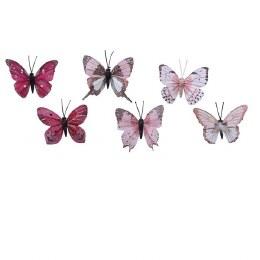 Christmas Butterfly Blush Pink, Pink, Burgandy Decoration 8.5 x 6cm