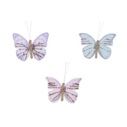 Christmas Decoration Butterfly With Glitter