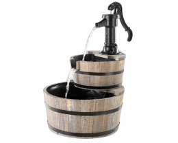 Water Barrel Two Tier With Pump 44 X 44 X 66cm - Wood Finish