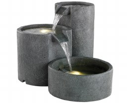 Three Way Water Feature With LED Lights 111 X 47 X 57cm - Grey