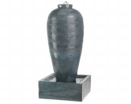 Slim Jar With Ribbed Finish Water Feature 50  X 50 X 105cm - Grey Washed