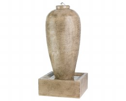 Slim Jar With Ribbed Finish Water Feature 50  X 50 X 105cm - Antique Beige