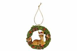 Christmas Baby Deer Wreath Hanging Decoration 7.5cm