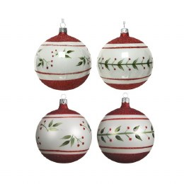 Christmas Bauble Winter White with Red Border Pattern 10cm
