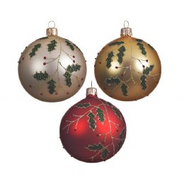 Christmas Bauble Holly branch Gold, Red or Pearl With Ribbon 8cm