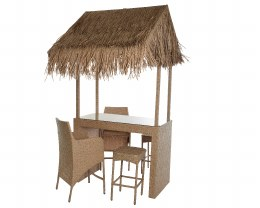 Rattan Weave Aruba Bar With Rattan Stools & Tatched Reed Roof & Table