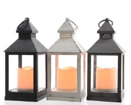 Battery Operated Lantern & Candle 11 X 11 X 22.5cm