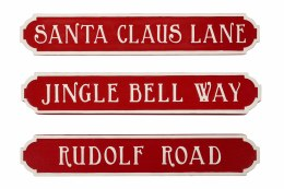 Christmas Street Sign Red 35x2cm