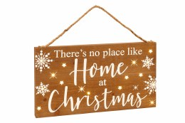 Christmas Sign 'There's No Place Like Home At Christmas' with Warm White LED Lights