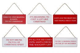 Christmas Red and White Funny Plaques