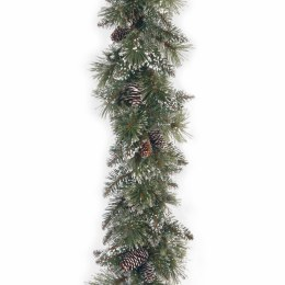 9 Foot Glittery Bristle Pine Garland With Cones
