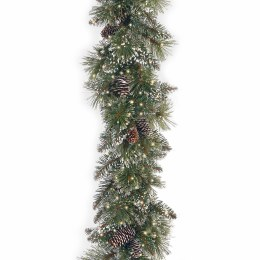 9 Foot Glittery Bristle Pine Pre Lit Garland with Cones with 400 Warm White LED Lights