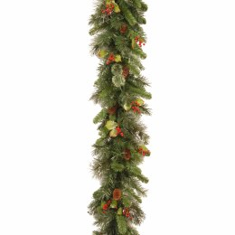 9 Foot Wintry Pine Garland With Cones and Red Berries