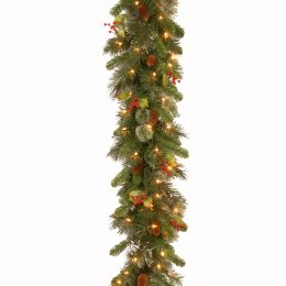 9 Foot Wintry Pine Pre Lit Garland With Cones and Berries With 100 Warm White Lights