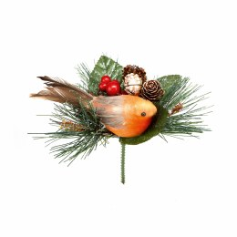 Christmas Pick Woodland Robin on Pick Decoration 15cm