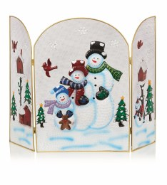 Christmas Fireguard with Snowman 63cm