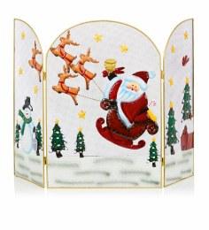 Christmas Fireguard with Santa Sleigh 63cm