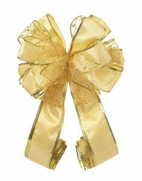 Christmas Tree Top Bow Gold with Glitter Ribbon 1.2m