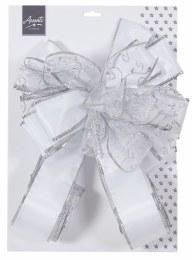 Christmas Tree Top Bow Silver & White Ribbon 1.2m