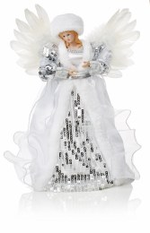 Christmas Tree Topper Angel Silver Dress with Wings 30cm