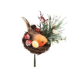 Christmas Pick Woodland Robin in Nest Pick Decoration 18cm