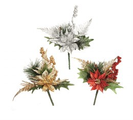 Christmas Pick Poinsettia in Red Gold or Silver 19cm