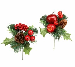 Christmas Pick Red Berry with Pinecone 10cm
