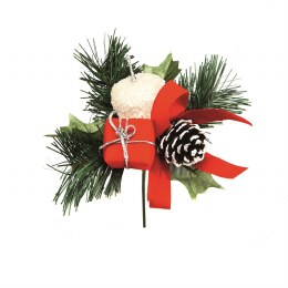 Christmas Pick Red & White Apple & Parcel 16cm
